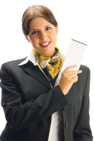 tailleur: cute hostess in black suit showing some tickets with a great smile