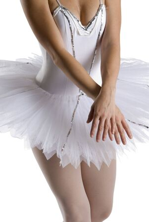 up skirt: dancer in a white tutu on a white background