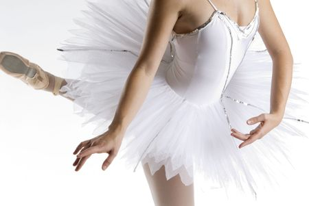 hosiery: dancer in a white tutu on a white background