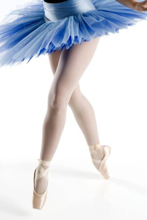 hosiery: dancer i blue tutu dancing in pointe