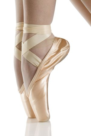 school form: dancer in ballet shoes dancing in pointe Stock Photo