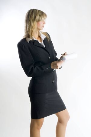 tailleur: blond hostess in formal suit watching with a lens