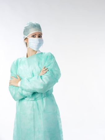verpleegkundige in het groen operatie jurk