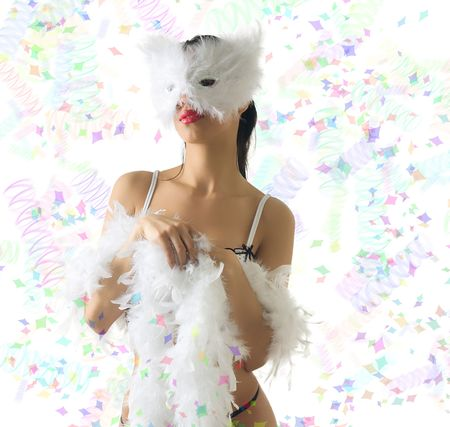 a beautiful young girl in white carnival mask and colored ribbons around