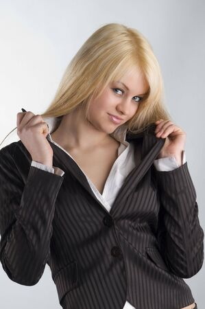 beautiful young blond in formal dress photo