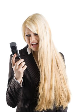 tailleur: cute blond woman in formal dress screaming with her mobile Stock Photo