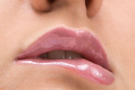 clse up of a red mouth with lipstick and lip gloss Stock Photo - 2790685