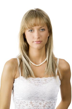 beautiful young woman in white dress and a necklace Stock Photo - 3430767