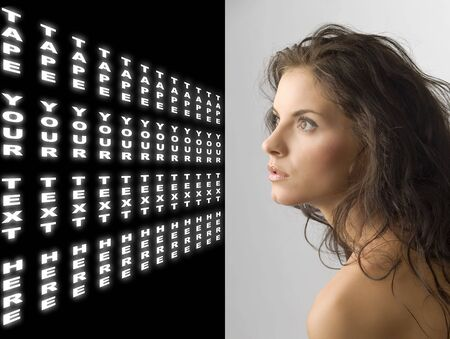 cute girl on her left side looking far away with light coming on her face Stock Photo - 3348493