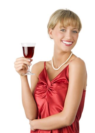 stylish lady in red dress drinking a glass of red wine with a great smile photo