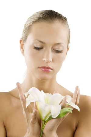 young and beautiful woman with a white lily in a fresh portrait Stock Photo - 3558155
