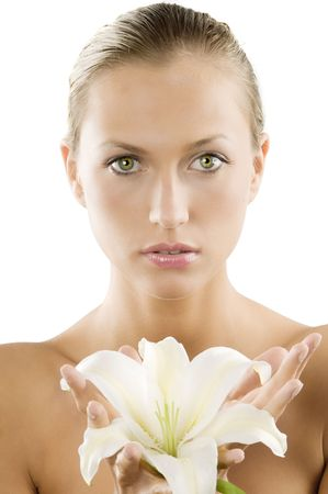 fresh portrait of a young and beautiful woman with a white lily and wet hair Stock Photo - 3558143