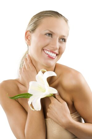 beautiful smiling girl with happy face keeping a white lily in a hand Stock Photo - 3558141