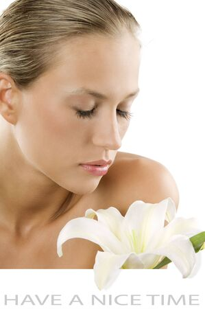 fresh portrait of a young and beautiful woman smelling a white flower with white space for text Stock Photo - 3559542