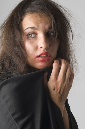 young woman in fear with her make up broken keeping hand close to face Stock Photo - 3689614