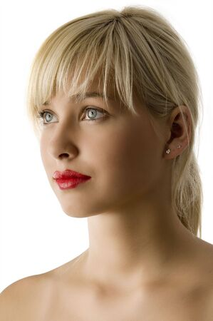 platinum hair: portrait of young beautiful girl with red lips and bright eyes Stock Photo