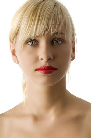 portrait of young beautiful blond girl with red lips and bright eyes Stock Photo - 3854206