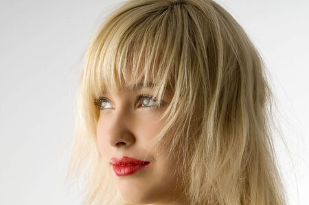 fashion portrait of blond girl with red lips Stock Photo - 3854210