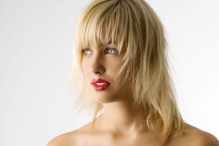 fashion portrait of blond girl with red lips Stock Photo - 3854205