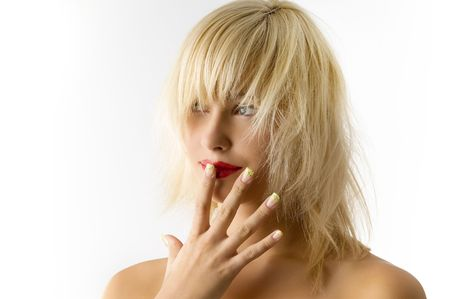 fashion portrait of blond girl with red lips and uncombed hair Stock Photo - 3854207