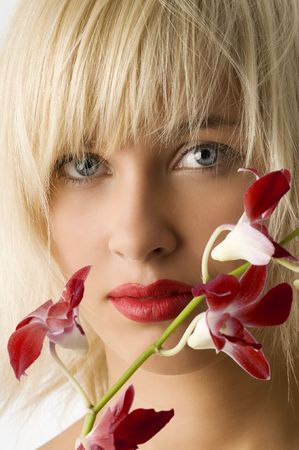 classic beauty style portrait of blond girl with flowers Stock Photo - 3854213