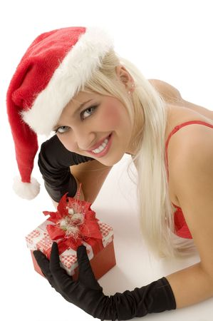 close up of beautiful blond santa claus with gift box smiling photo