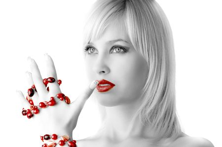cute blond girl with glamor make up with red necklace Stock Photo - 4082229