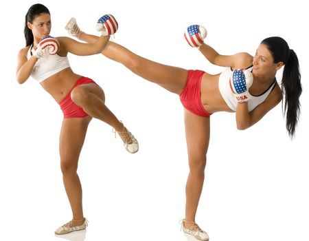 pretty twins girl with boxing gloves and red shorts fighting Stock Photo - 4118834