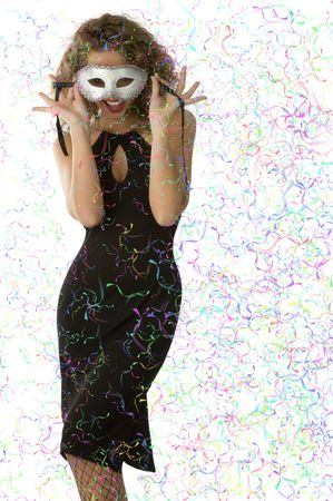 elegant stunning woman in black dress hiding face with mask happy