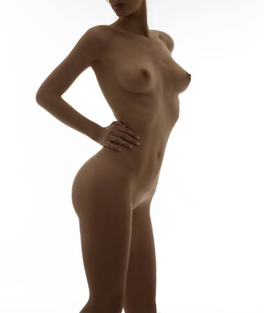 naked breast: beauty portrait of a young naked woman with great body Stock Photo