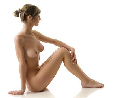 pechos: belleza retrato de una joven mujer desnuda con gran cuerpo
