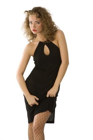 bas r�sille: charmante dame belle robe noire et le port de bas