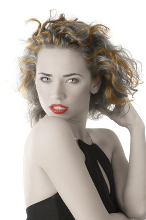 portrait of young woman with black dress and stunning eyes photo