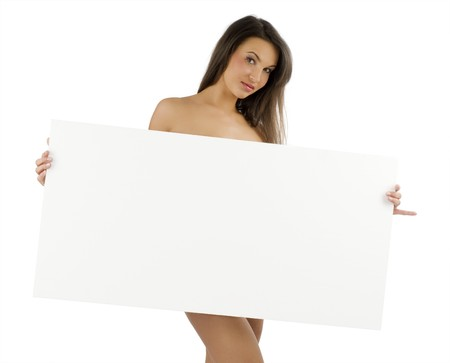 ad: young woman cover body with a white advertising display