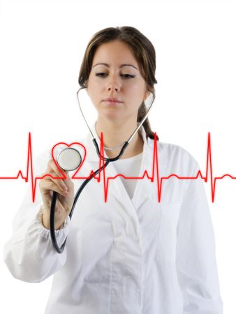 nice doctor with stethoscope auscultating the focus is on the stethoscope photo