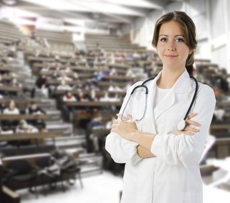 faculty: nice doctor in white medical gown and a stethoscope around her neck