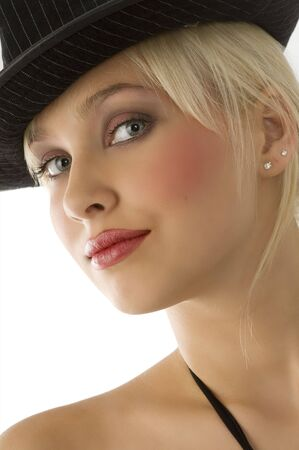 gray eyes: nice close up of beautiful blond girl with black hat and gray eyes