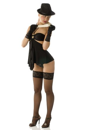 fedora hat: sexy pinup girl in black with hat stocking and shoes with heel