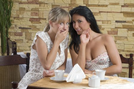 two friends chatting each others in a cafe drinking a cup of tea Stock Photo - 4638522