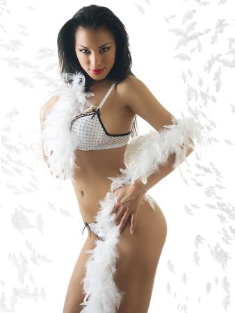 beautiful and sexy latina girl in white underwear with feather boa photo