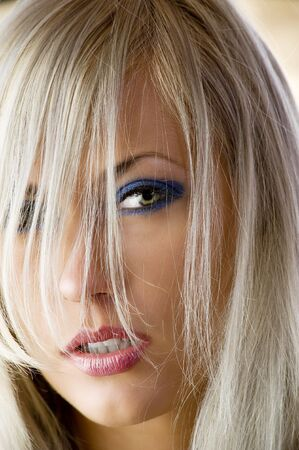 close-up on beautiful face of sensual and blond haired girl Stock Photo - 4964360