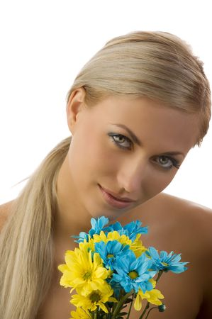 graceful model with colored make up and some flowers near face Stock Photo - 5288598