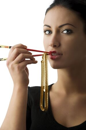 glod: portrait of a cute woman playing with a glod necklace and red chopstick