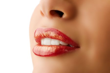 closeup of woman mouth with red and golden colored lips Stock Photo - 5501440