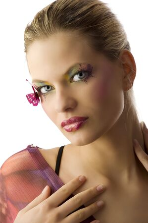 beauty portrait of young woman with creative make up with butterfly Stock Photo - 5501487