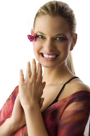 very cute girl with creative make up looking in camera with a great smile Stock Photo - 5501485