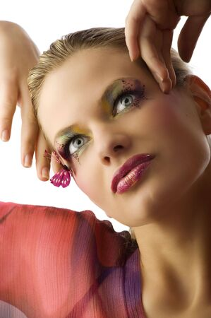 Beautiful woman in fashionable dress with creative makeup with butterfly on her face Stock Photo - 5501486
