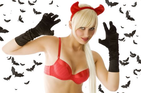 blond sexy girl in red top with red devil horns and black gloves Stock Photo - 5619417