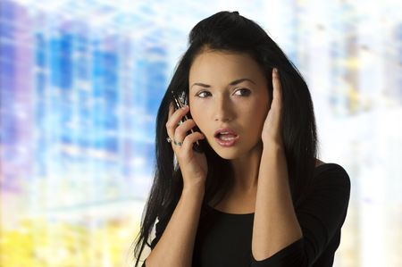 nice portrait of a young asian woman making face and using a cellphone Stock Photo - 5839718