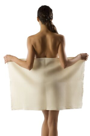 beauty portrait of pretty woman dressing a white bath towel and showing her naked shoulder Stock Photo - 5971266